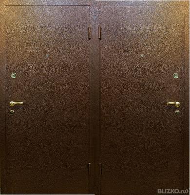 наружная железная двухстворчатая дверь с напылением