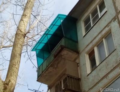 Крыша на балкон из поликарбоната 8 мм с боковыми стенками от.