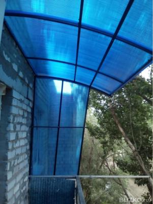 Крыша на балкон из поликарбоната 8 мм с боковыми стенками в .